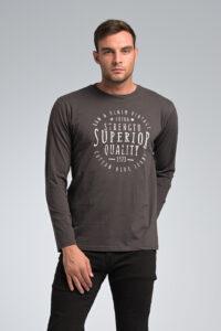 Casual Ανδρική Μακρυμάνικη Μπλούζα GREENWOOD με Στάμπα σε Γκρι Χρώμα