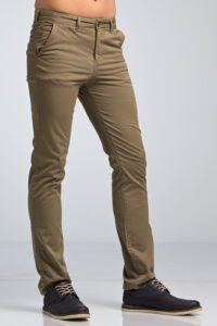 Νεανικό μοντέρνο ποιοτηκόΑνδρικό Παντελόνι Chino Υφασμάτινο MASSARO Χακί Πράσινο- Slim fit