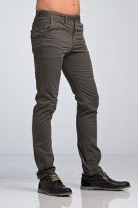 Casual Καθημερινό Μοντέρνο Ανδρικό Παντελόνι Chino Υφασμάτινο MASSARO Γκρι- Slim fit για όλες τις ηλικίες