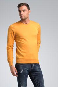 Casual φθηνό καθημερινό Βαμβακερό Ανδρικό Πλεκτό πουλόβερ Massaro με Λαιμόκοψη σε Μουσταρδί Χρώμα