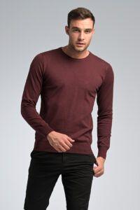 φθηνό casual καθημερινό Βαμβακερό Ανδρικό Πλεκτό πουλόβερ Massaro με Λαιμόκοψη σε Μπορντό Χρώμα