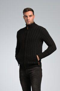 Κομψή Κλασική Μαύρη Ζακέτα Massaro με Φερμουάρ και Πλέξη Κοτσίδα - Regular Fit