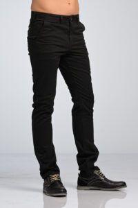 Ανδρικό Casual Καθημερινό Παντελόνι Chino Υφασμάτινο MASSARO Μαύρο - Slim fit