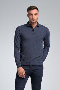 Νεανικό Μοντέρνο Μπλε Ραφ Ανδρικό Μπλουζάκι Πόλο με Κουμπιά και Λάστιχο και τσέπη