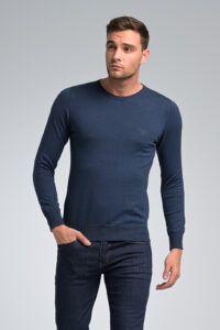 φθηνό casual καθημερινό Βαμβακερό Ανδρικό Πλεκτό πουλόβερ Massaro με Λαιμόκοψη σε Μπλε Ραφ Χρώμα