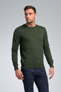Casual Καθημερινό φθηνό Βαμβακερό Ανδρικό Πλεκτό πουλόβερ Massaro με Λαιμόκοψη σε Πράσινο Χρώμα