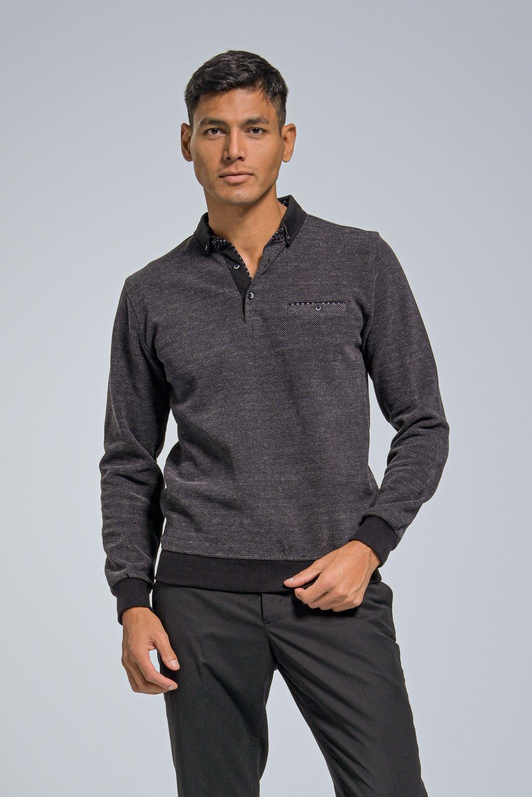 Ανδρικό Βαμβακερό Μπλουζάκι με Γιακά Τύπου Πόλο σε Μαύρο Χρώμα