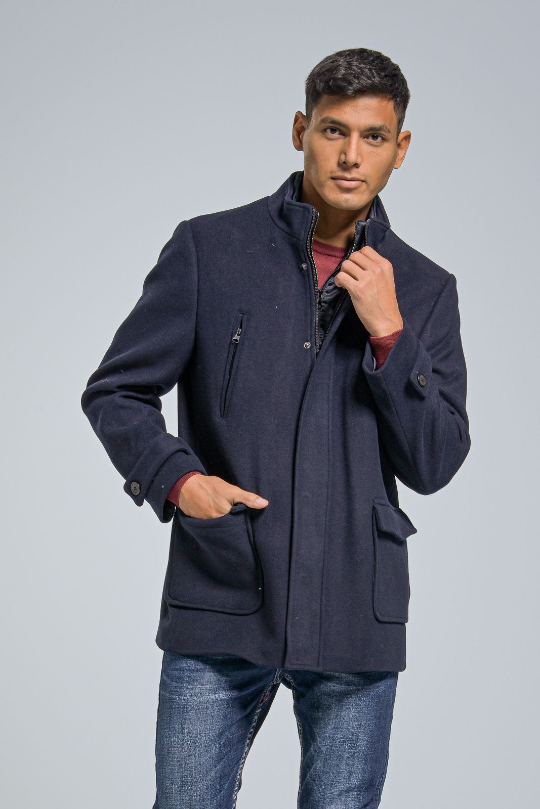 Μάλλινο Ανδρικό Παλτό με Γιλέκο σε Μπλε Χρώμα