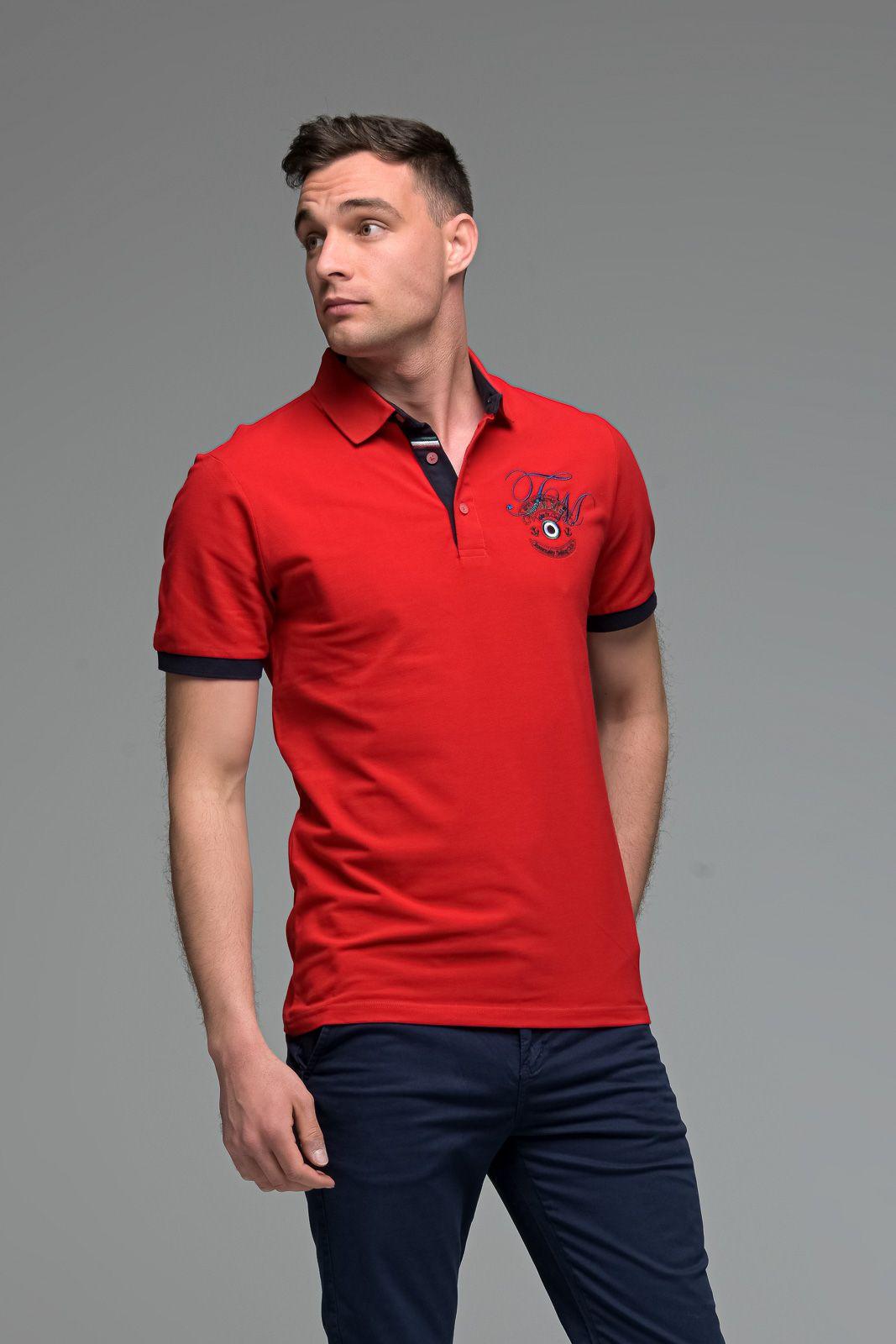 Κόκκινο Ανδρικό Πόλο Μπλουζάκι με Κέντημα