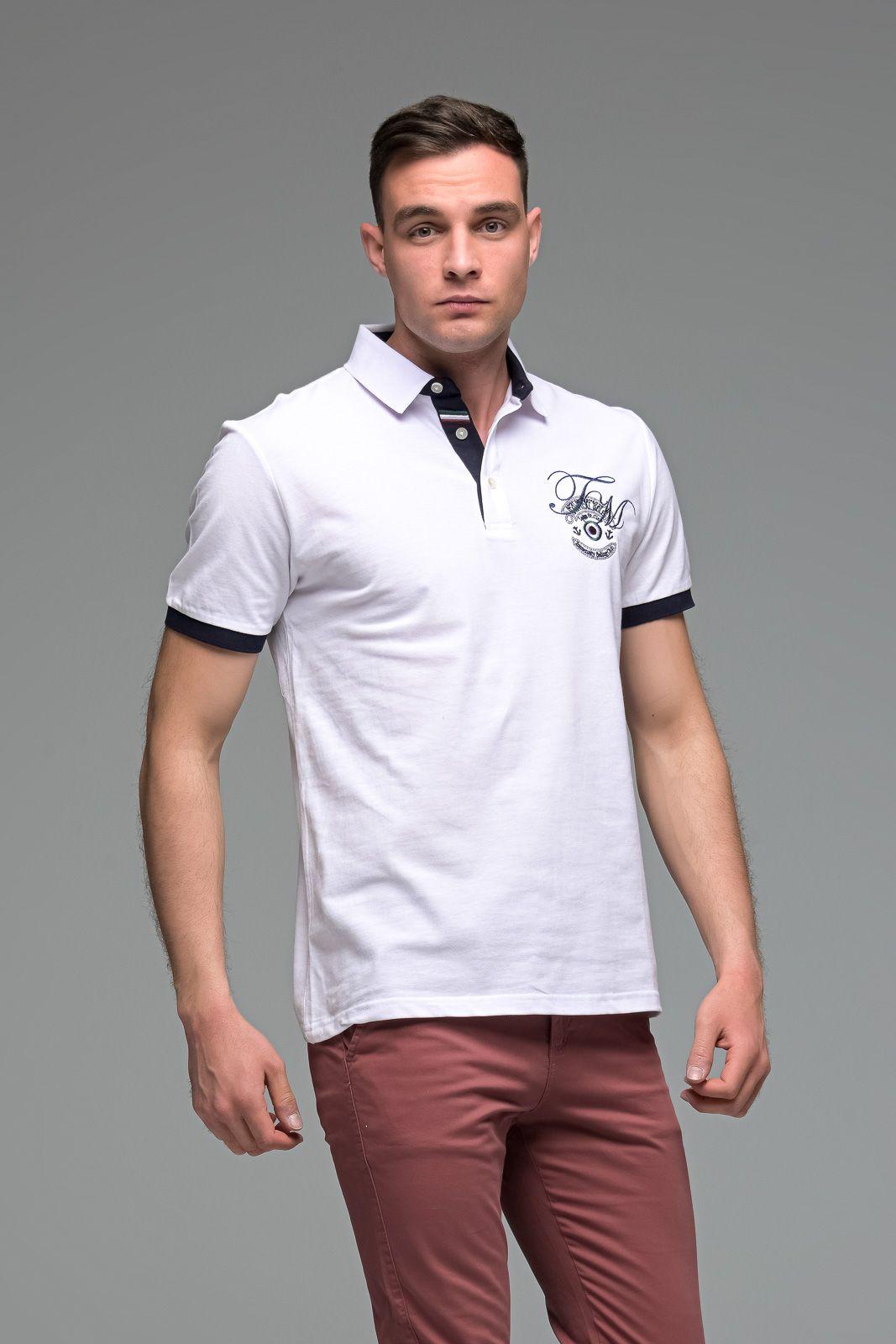 Λευκό Ανδρικό Πόλο Μπλουζάκι με Κέντημα
