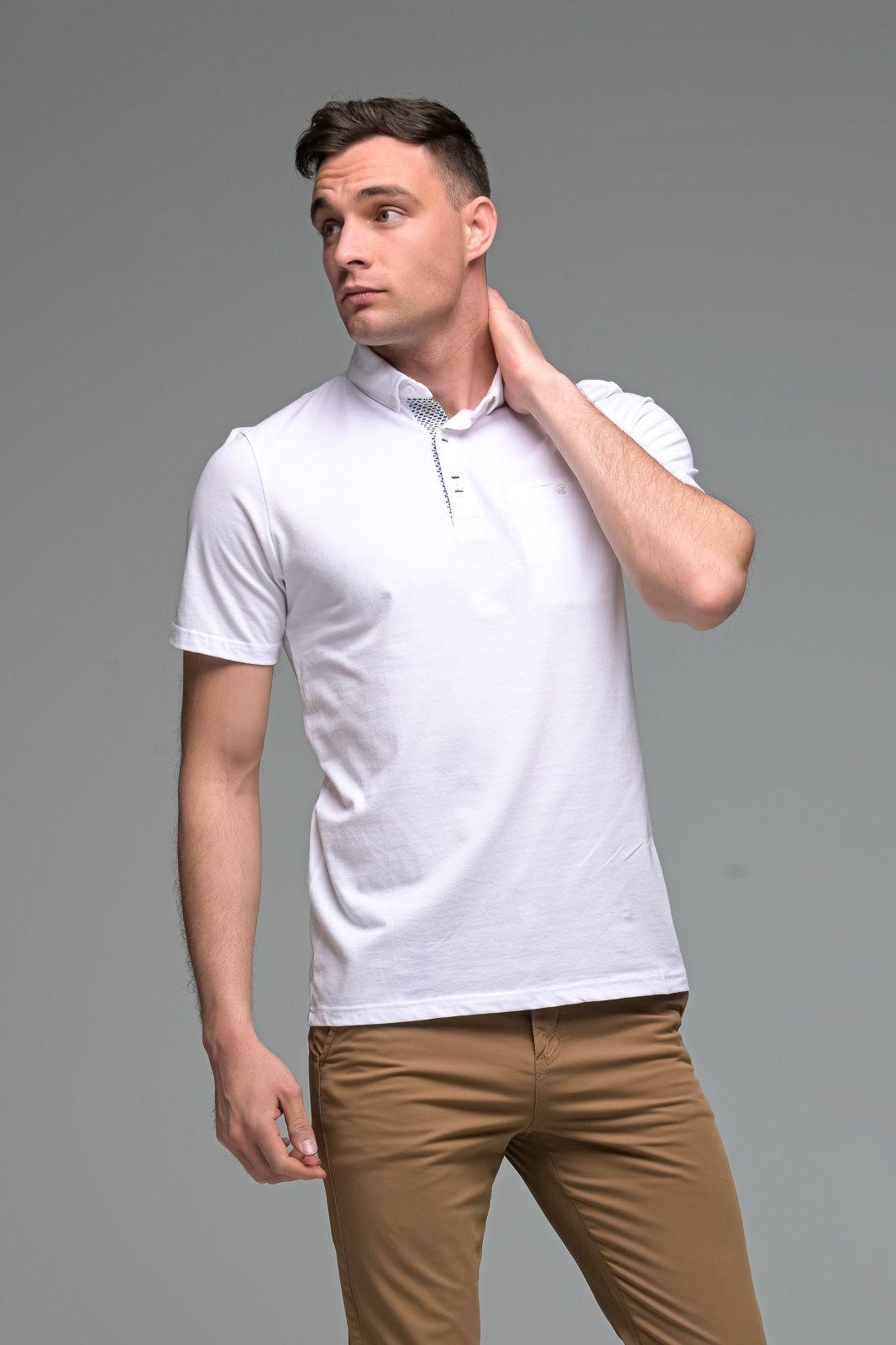 Λευκό Ανδρικό Πόλο Μπλουζάκι με Τσεπάκι