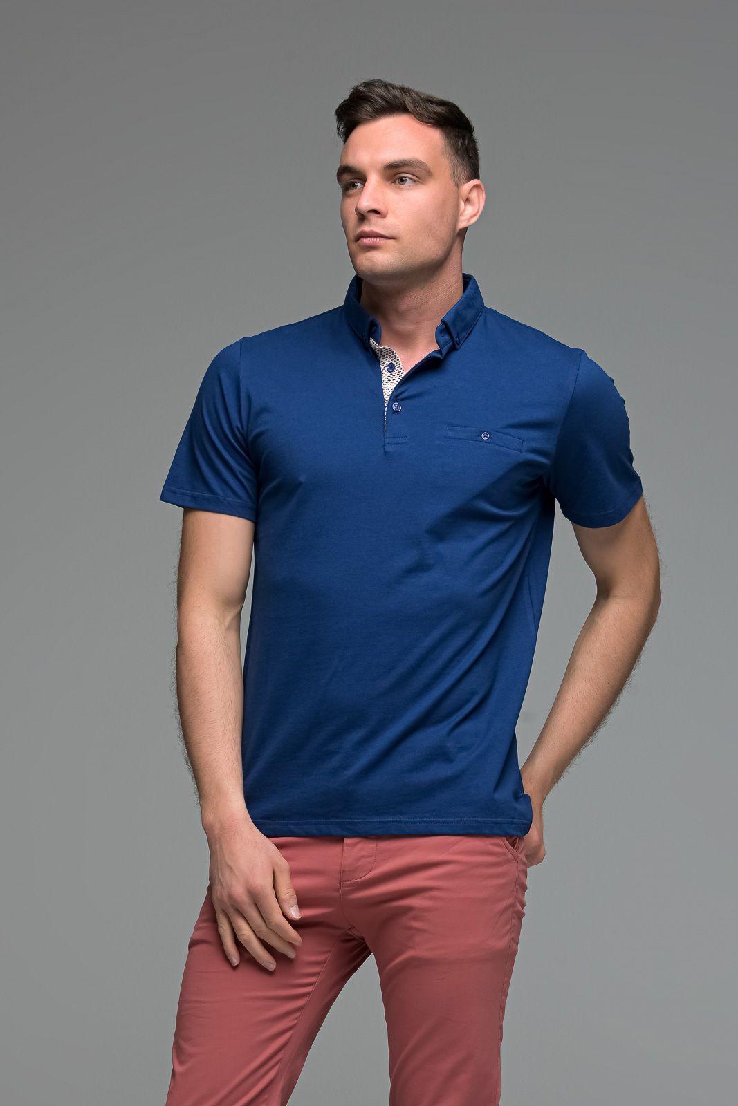 Μπλε Ανδρικό Πόλο Μπλουζάκι με Τσεπάκι