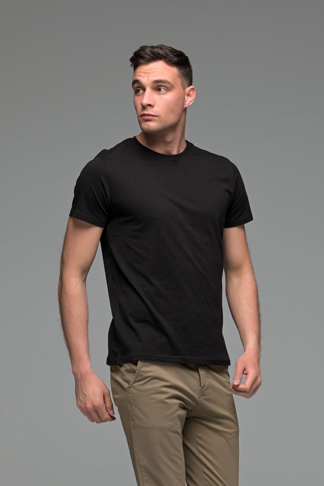 Μονόχρωμο μαύρο ανδρικό κοντομάνικο T-SHIRT - Basic Collection