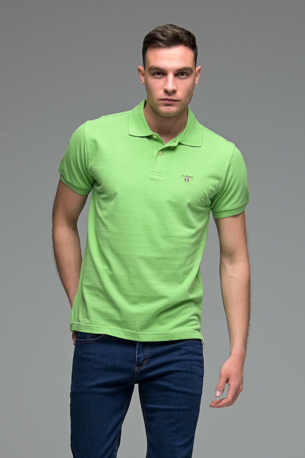 Μονόχρωμο Ανδρικό Πόλο Μπλουζάκι Πράσινο Ανοιχτό Basic Collection- Slim Fit