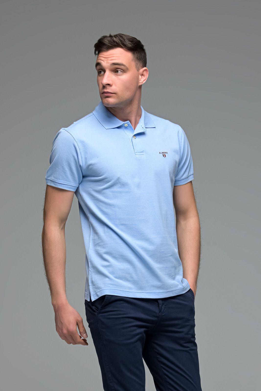 Μονόχρωμο Ανδρικό Πόλο Μπλουζάκι Σιελ Μπλε Basic Collection- Slim Fit