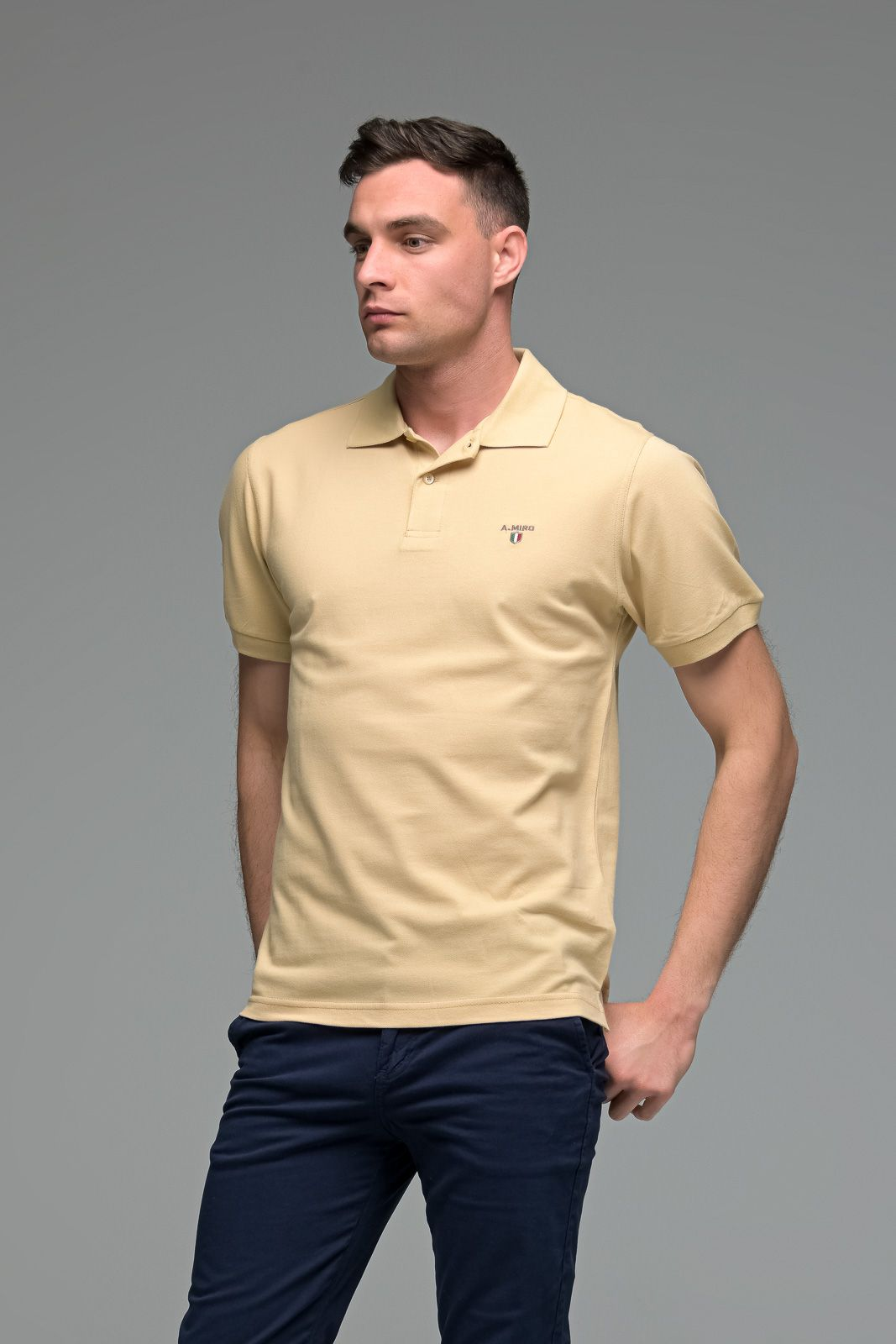 Μονόχρωμο Ανδρικό Πόλο Μπλουζάκι Σκούρο Μπεζ Basic Collection- Slim Fit