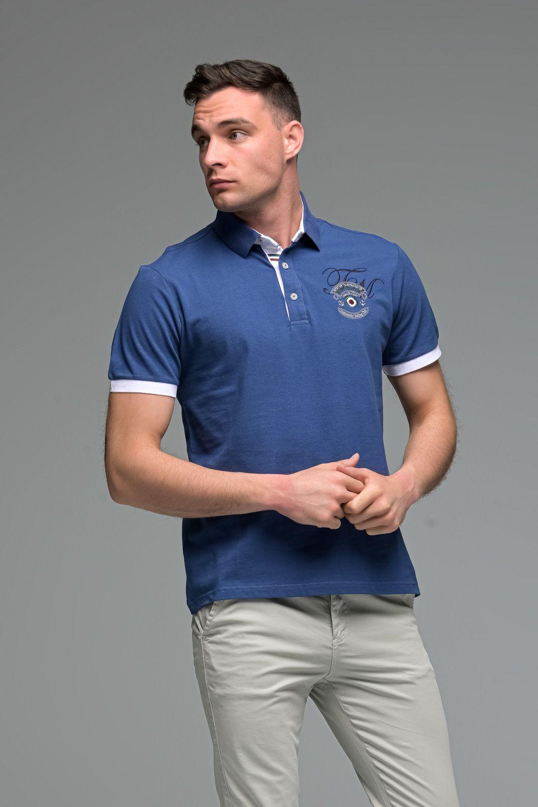 Μπλε Ραφ Ανδρικό Πόλο Μπλουζάκι με Κέντημα