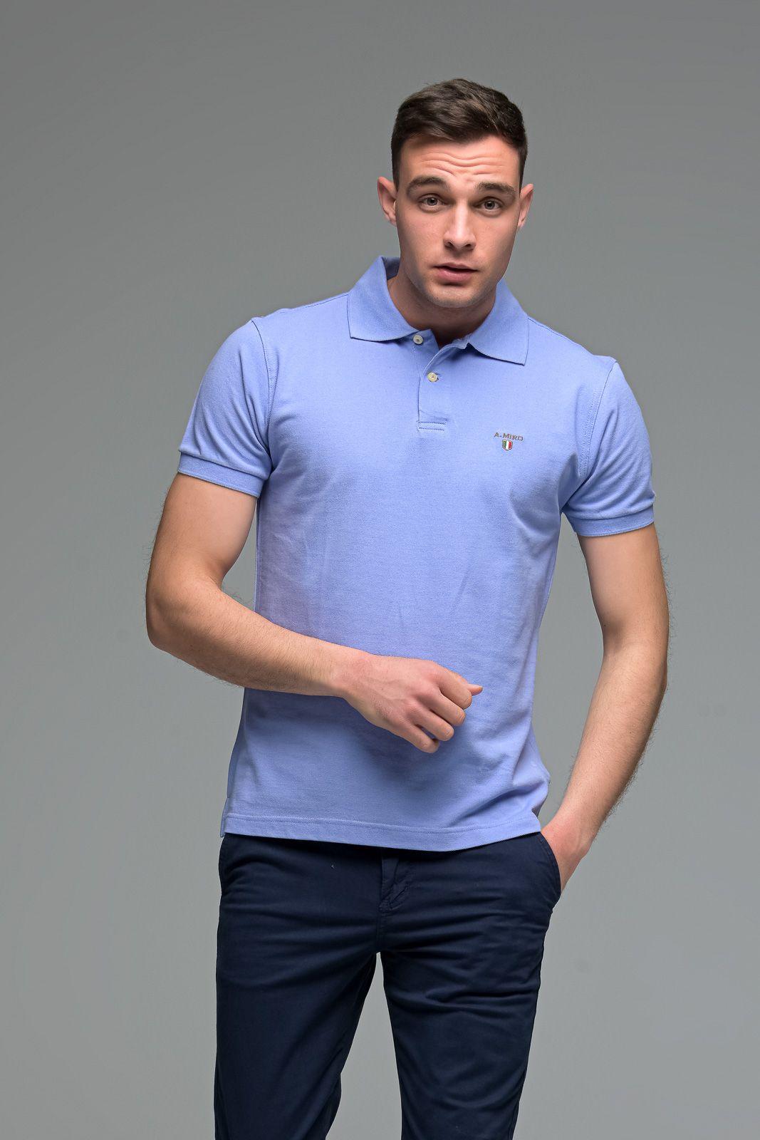 Μονόχρωμο Ανδρικό Πόλο Μπλουζάκι Μωβ Lavender Basic Collection- Slim Fit