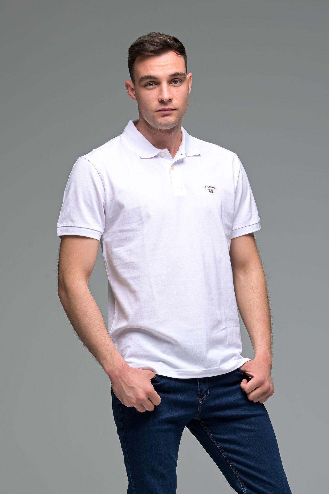 Μονόχρωμο Ανδρικό Πόλο Μπλουζάκι Λευκό Basic Collection- Slim Fit