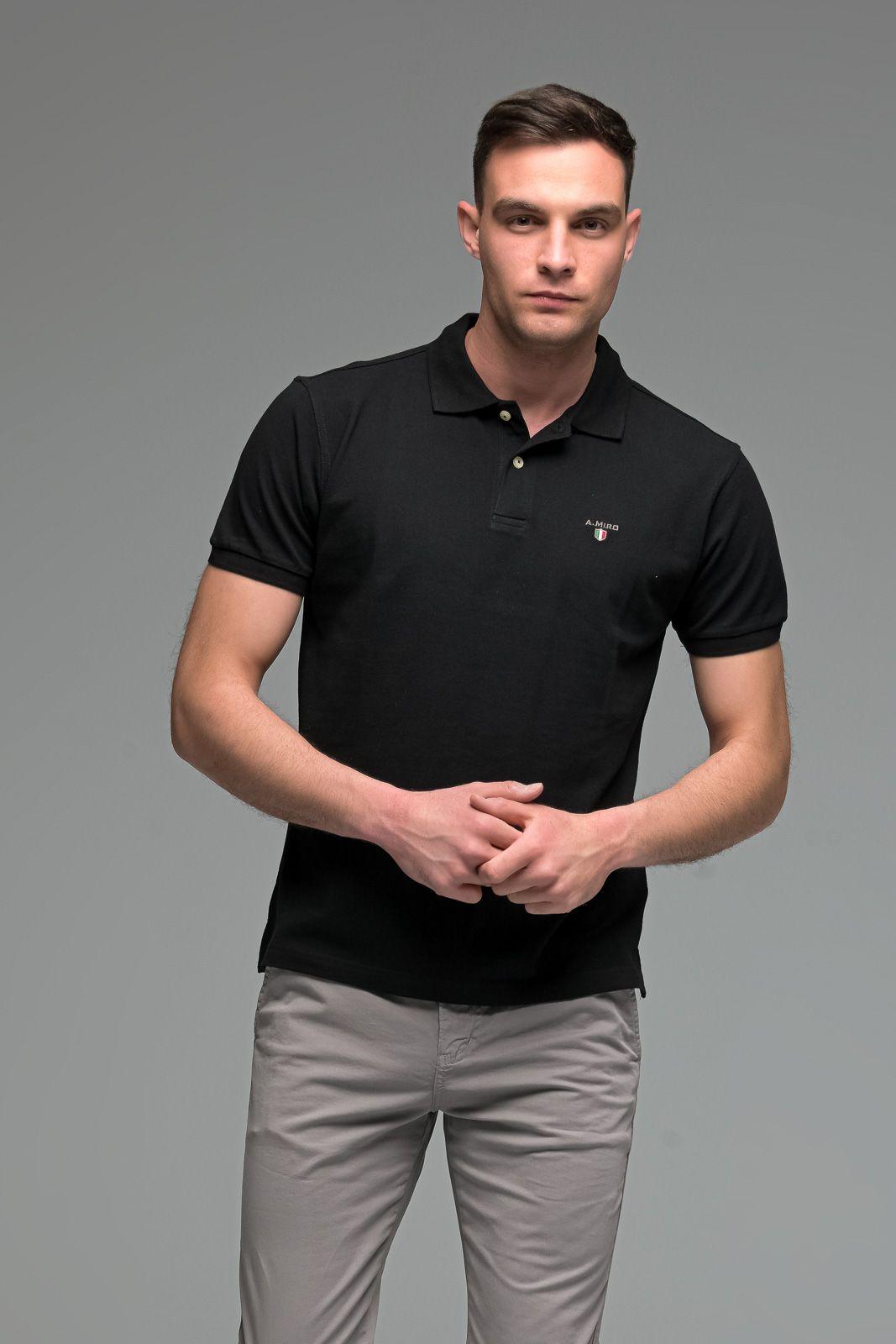 Μονόχρωμο Ανδρικό Πόλο Μπλουζάκι Μαύρο Basic Collection- Slim Fit