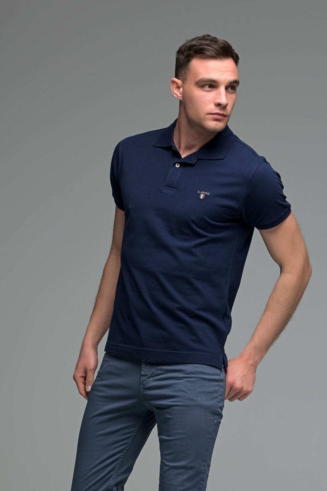 Μονόχρωμο Ανδρικό Πόλο Μπλουζάκι Μπλε Navy Basic Collection- Slim Fit