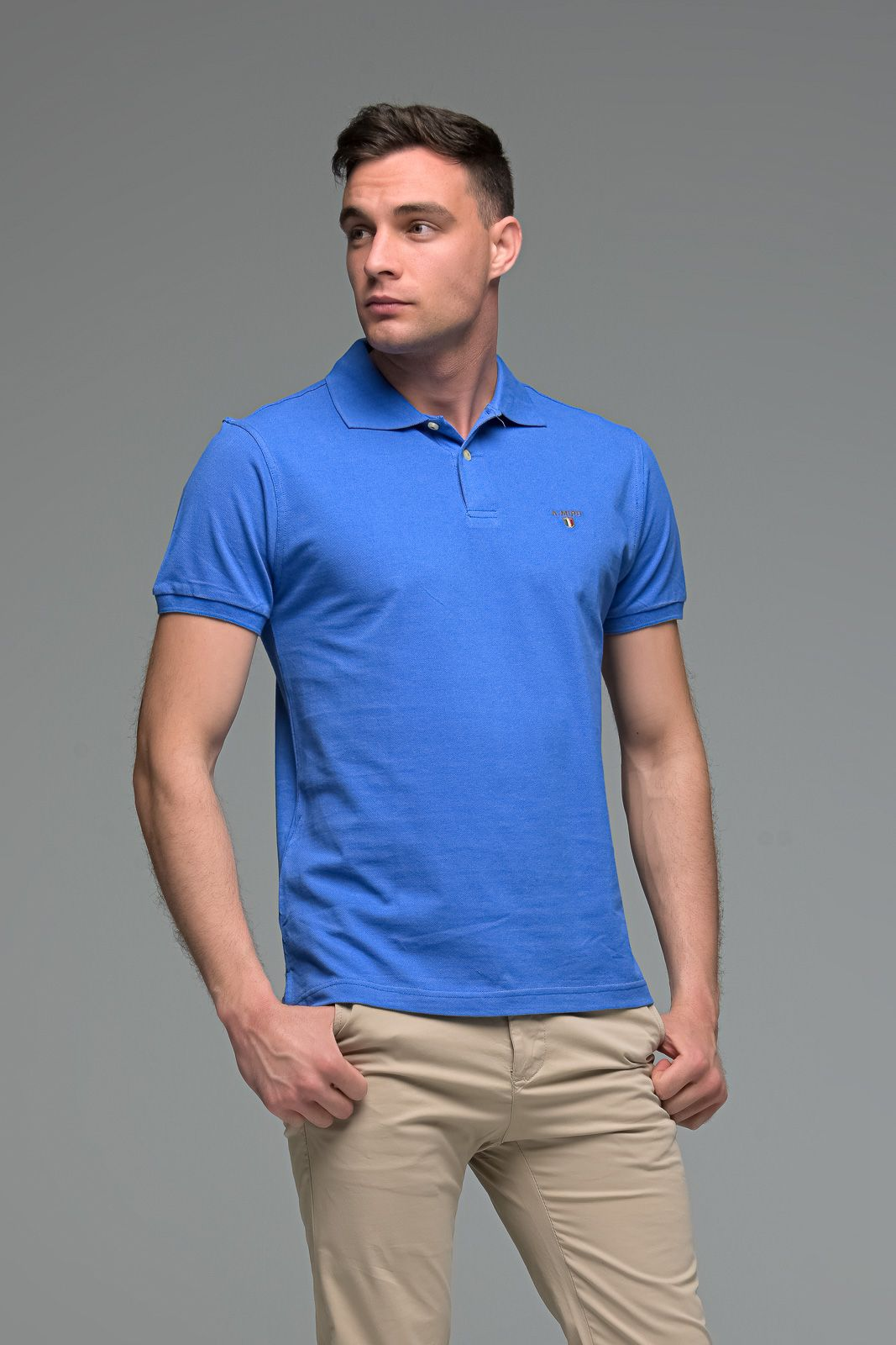 Μονόχρωμο Ανδρικό Πόλο Μπλουζάκι Μπλε Ραφ Basic Collection- Slim Fit