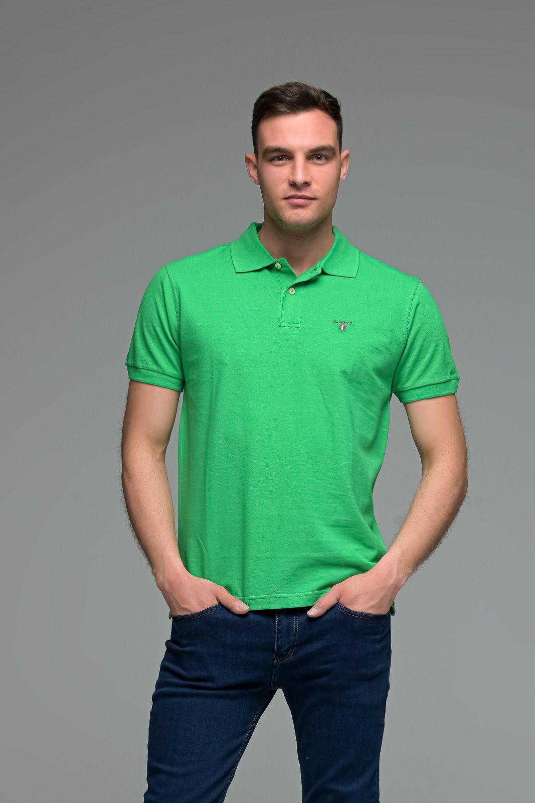 Μονόχρωμο Ανδρικό Πόλο Μπλουζάκι Πράσινο Basic Collection- Slim Fit