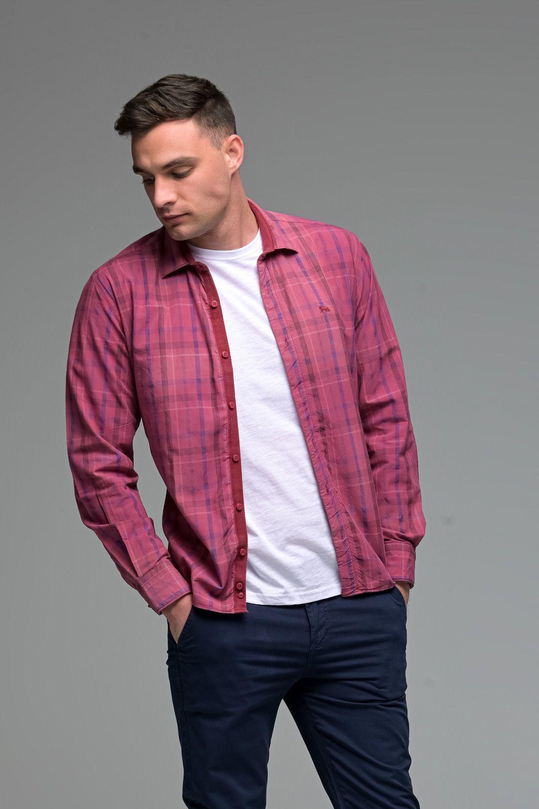Casual Κόκκινο Καρό Ανδρικό Πουκάμισο - Slim Fit