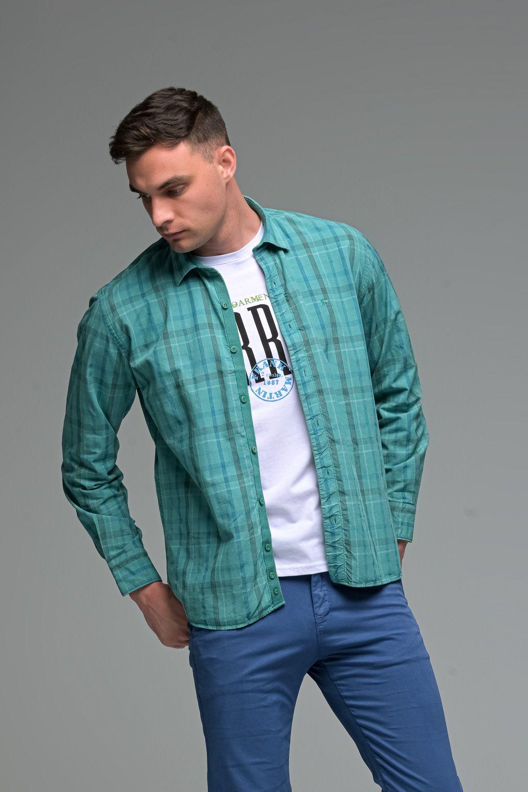 Casual Πράσινο Καρό Ανδρικό Πουκάμισο - Slim Fit