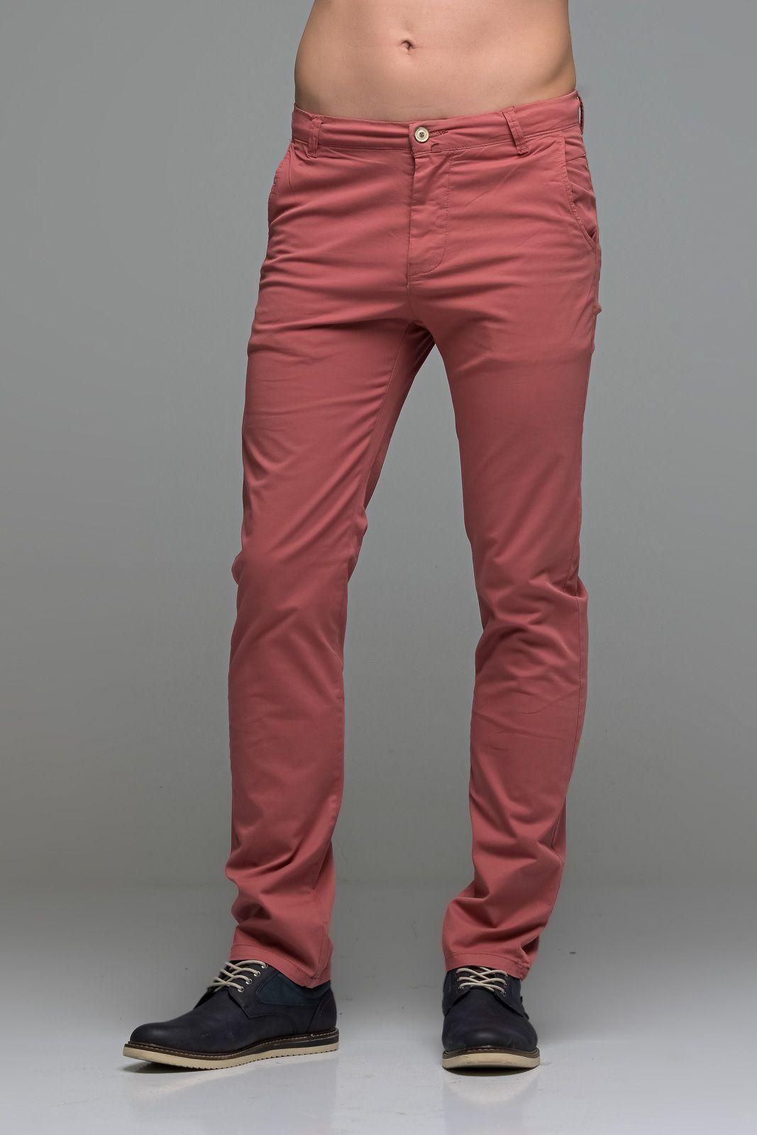 Καλοκαιρινό Ανδρικό Παντελόνι Chino MASSARO Κοραλί- Straight fit
