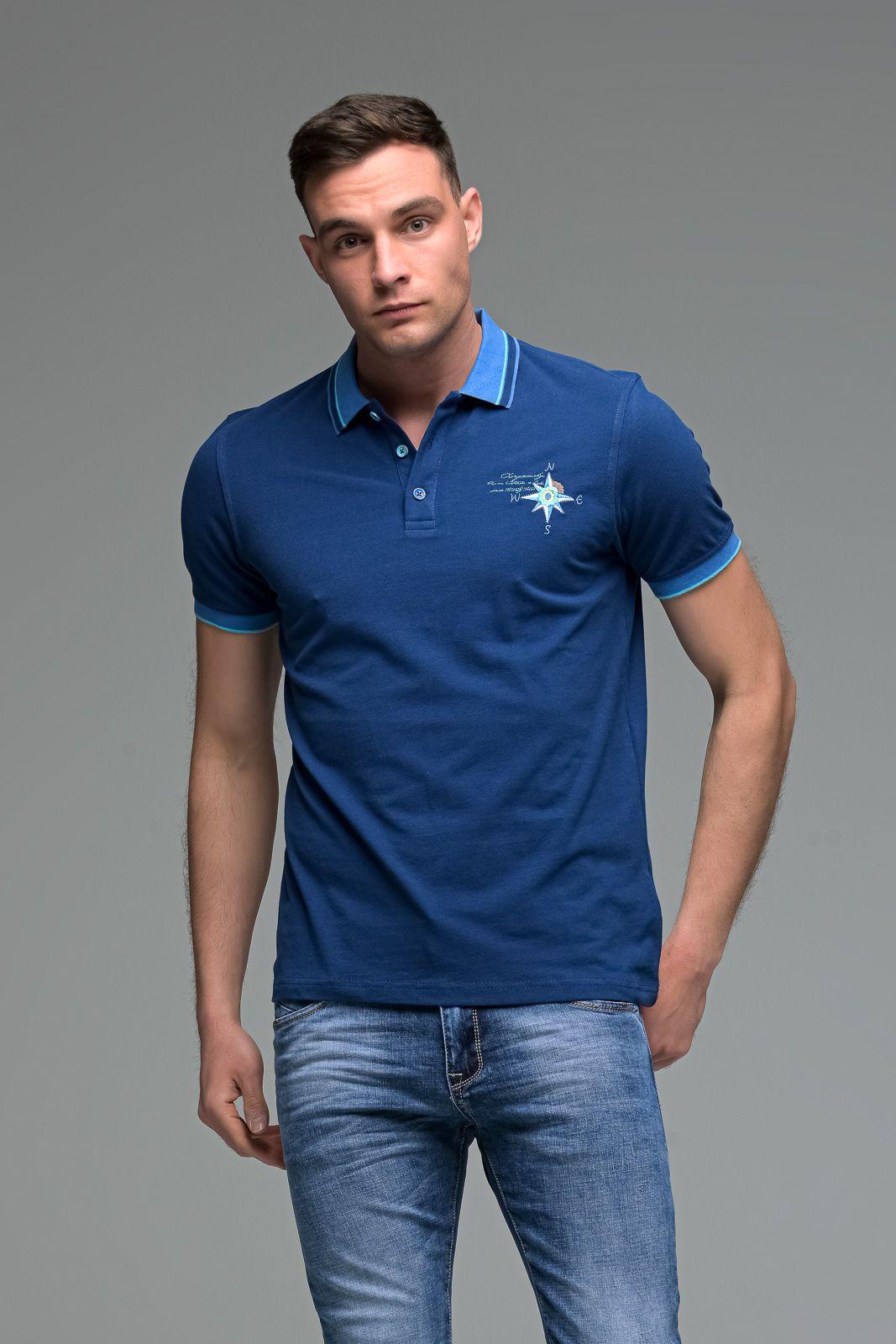 Μπλε Ανδρικό Πόλο Μπλουζάκι με Κέντημα NESW