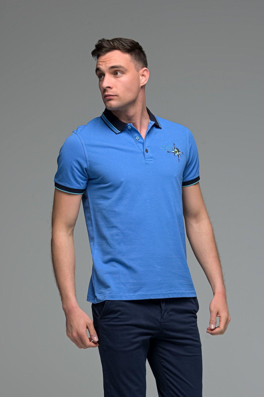 Ραφ Μπλε Ανδρικό Πόλο Μπλουζάκι με Κέντημα NESW