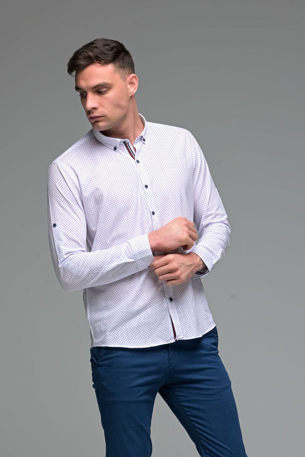 Λευκό Ανδρικό Πουκάμισο Λινό με Μπλε Print - Slim Fit