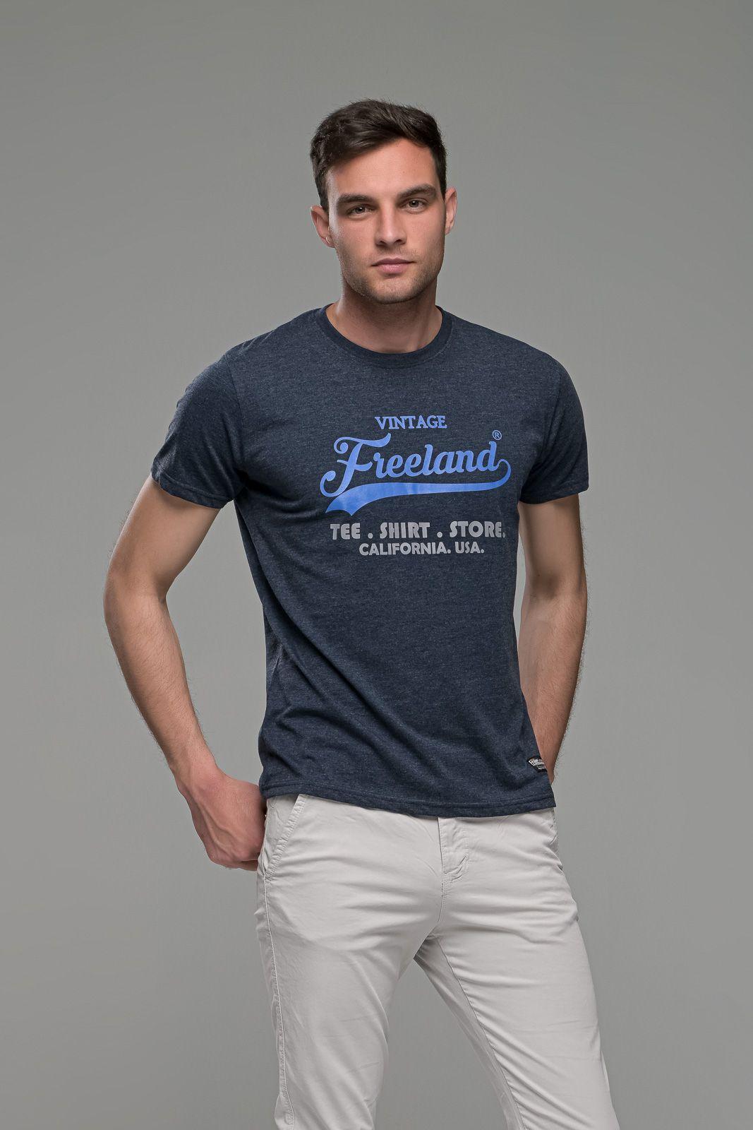 φθηνό casual Μπλε Μελανζέ ανδρικό κοντομάνικο T-SHIRT FR με Στάμπα TEE SHIRT STORE καλοκαιρινό μπλουζάκι