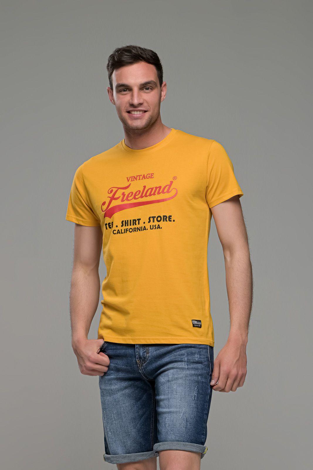 φθηνό casual κίτρινο ανδρικό κοντομάνικο T-SHIRT FR με Στάμπα TEE SHIRT STORE καλοκαιρινό μπλουζάκι