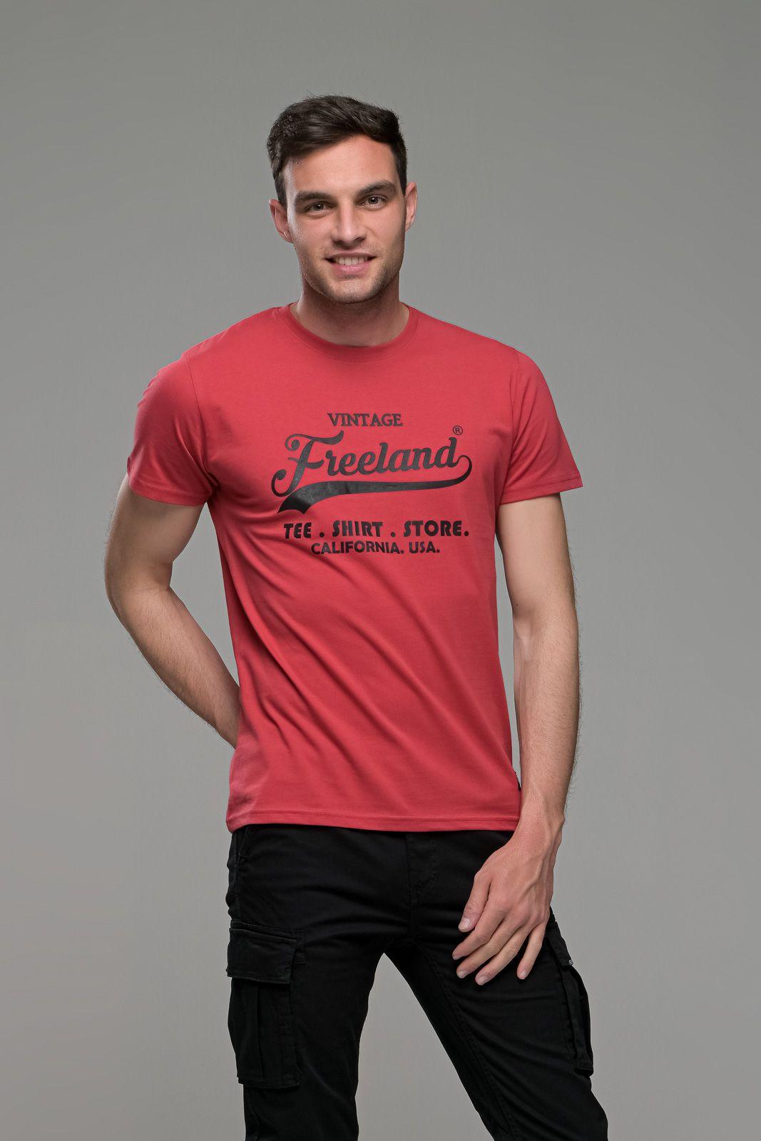 φθηνό casual κόκκινο ανδρικό κοντομάνικο T-SHIRT FR με Στάμπα TEE SHIRT STORE καλοκαιρινό μπλουζάκι