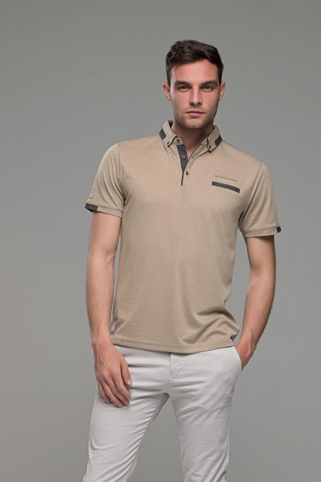 Πόλο ανδρικό μπλουζάκι μπεζ MS με κοντό μανίκι και σχέδιο στο γιακά – Slim Fit
