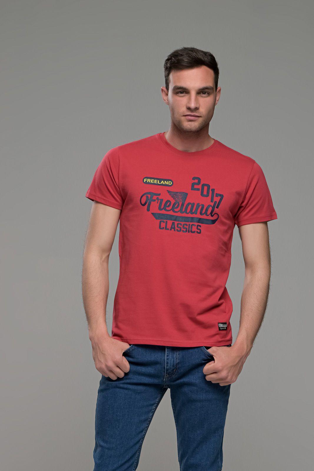 Φθηνό κόκκινο ανδρικό κοντομάνικο T-SHIRT με στάμπα casual για όλες τις ώρες