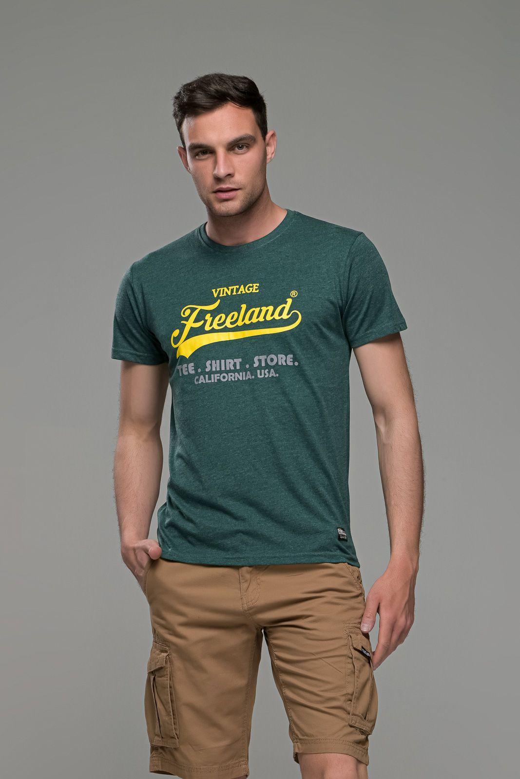 φθηνό casual πράσινο ανδρικό κοντομάνικο T-SHIRT με Στάμπα καλοκαιρινό μπλουζάκι