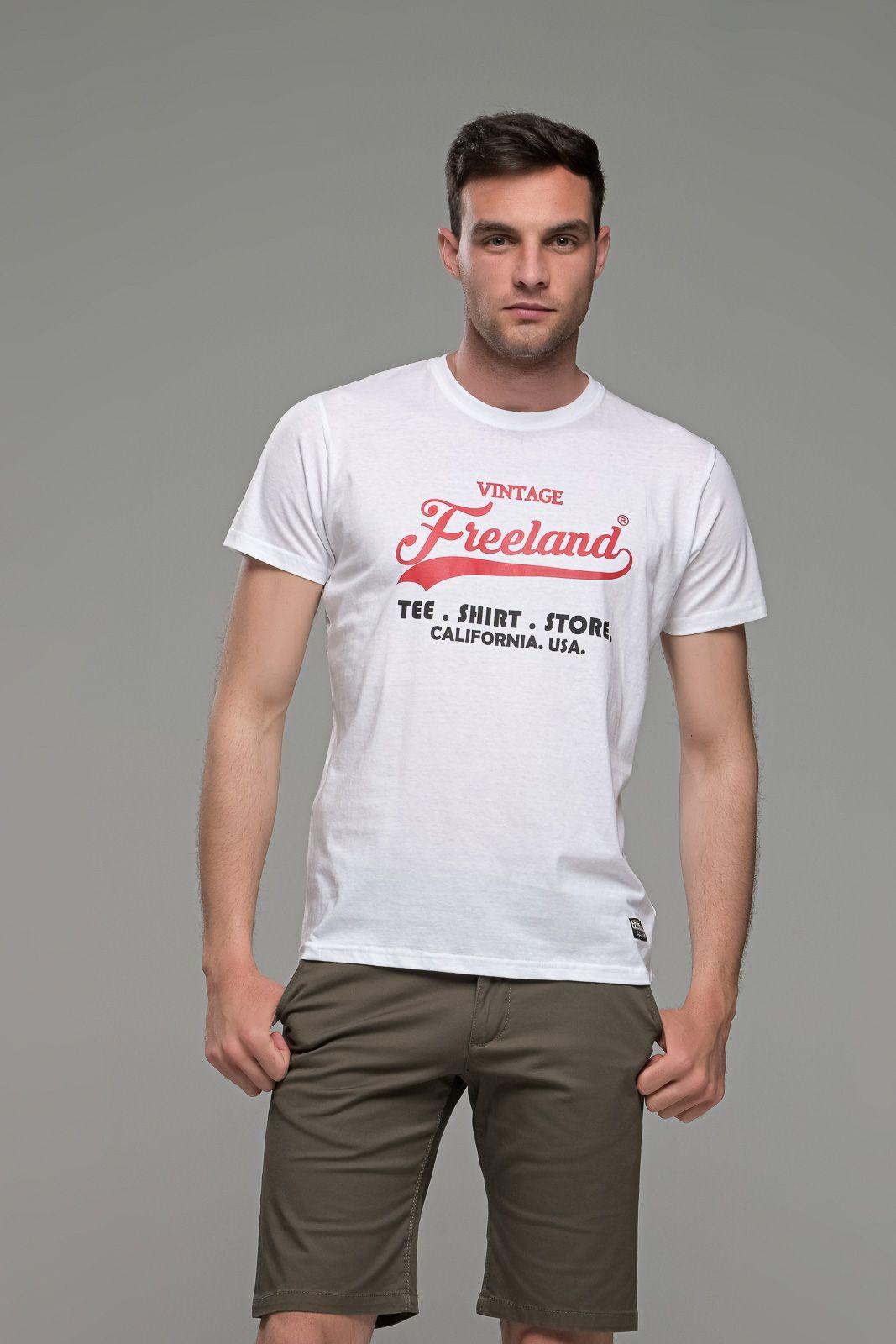 φθηνό casual λευκό ανδρικό κοντομάνικο T-SHIRT με Στάμπα καλοκαιρινό μπλουζάκι