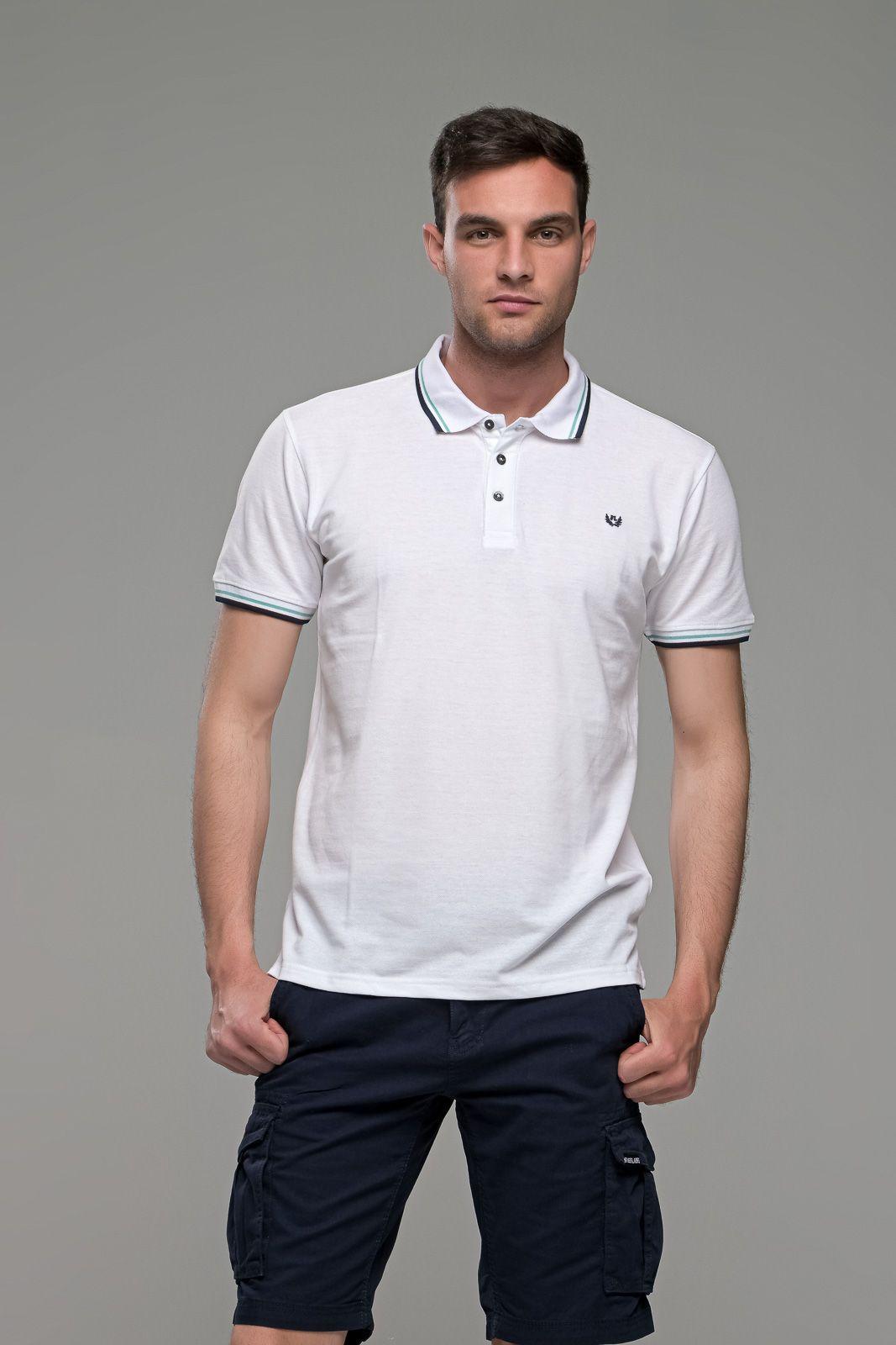Φθηνό Λευκό Ανδρικό Πόλο Μπλουζάκι με Ρίγα στο Γιακά Καλοκαιρινό Άνετο - Regular Fit