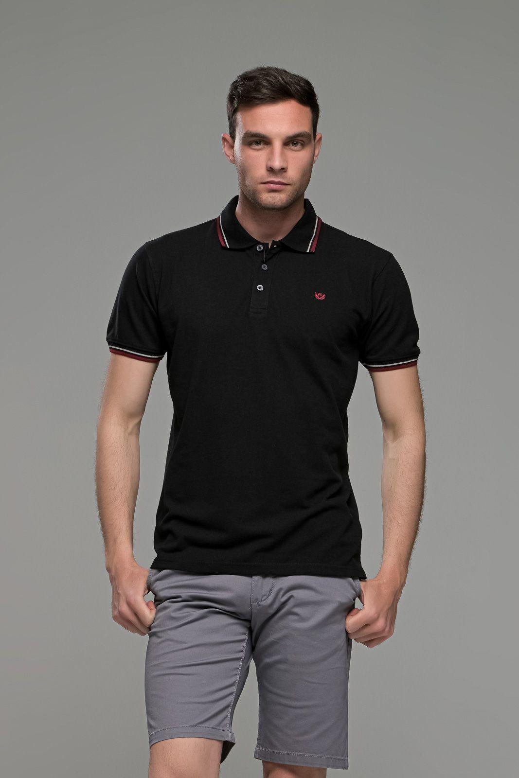 Φθηνό Μαύρο Ανδρικό Πόλο Μπλουζάκι με Ρίγα στο Γιακά Καλοκαιρινό Άνετο - Regular Fit