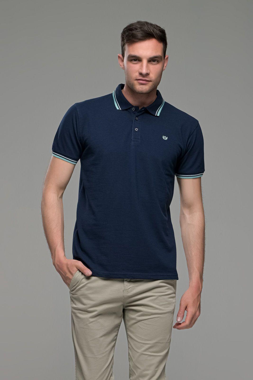 Φθηνό Μπλε Ανδρικό Πόλο Μπλουζάκι με Ρίγα στο Γιακά Καλοκαιρινό Άνετο - Regular Fit