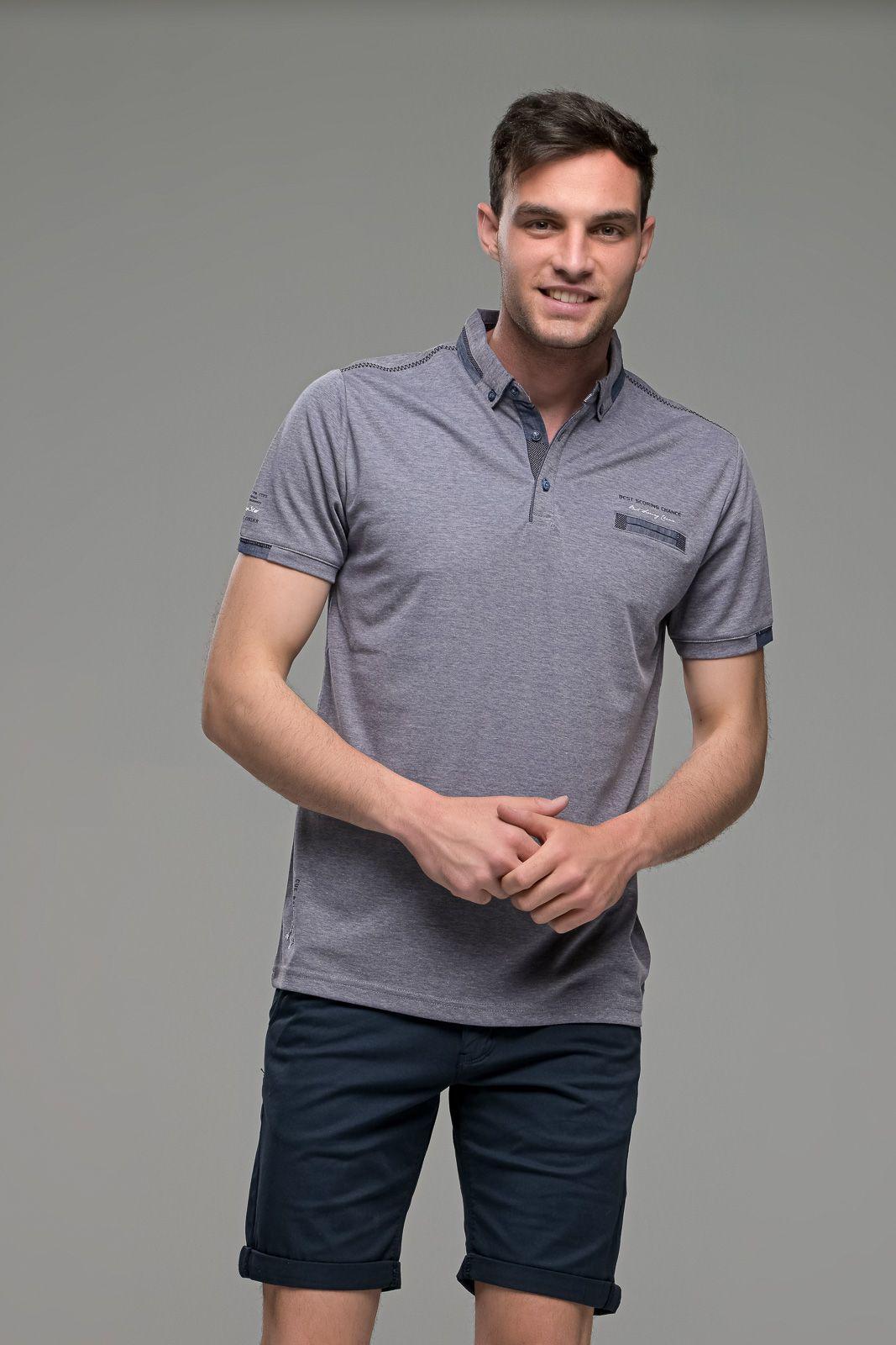 Πόλο ανδρικό μπλουζάκι μωβ MS με κοντό μανίκι και σχέδιο στο γιακά – Slim Fit