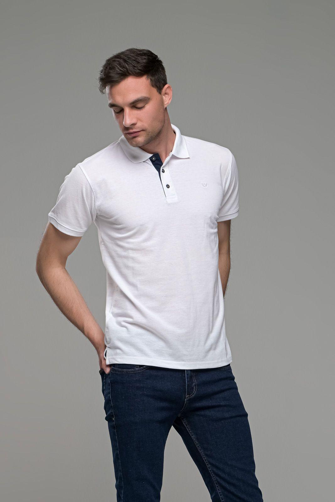 Φθηνό άσπρο λευκό Ανδρικό Πόλο Μπλουζάκι FR με Μπλε Πατιλέτα - Regular Fit