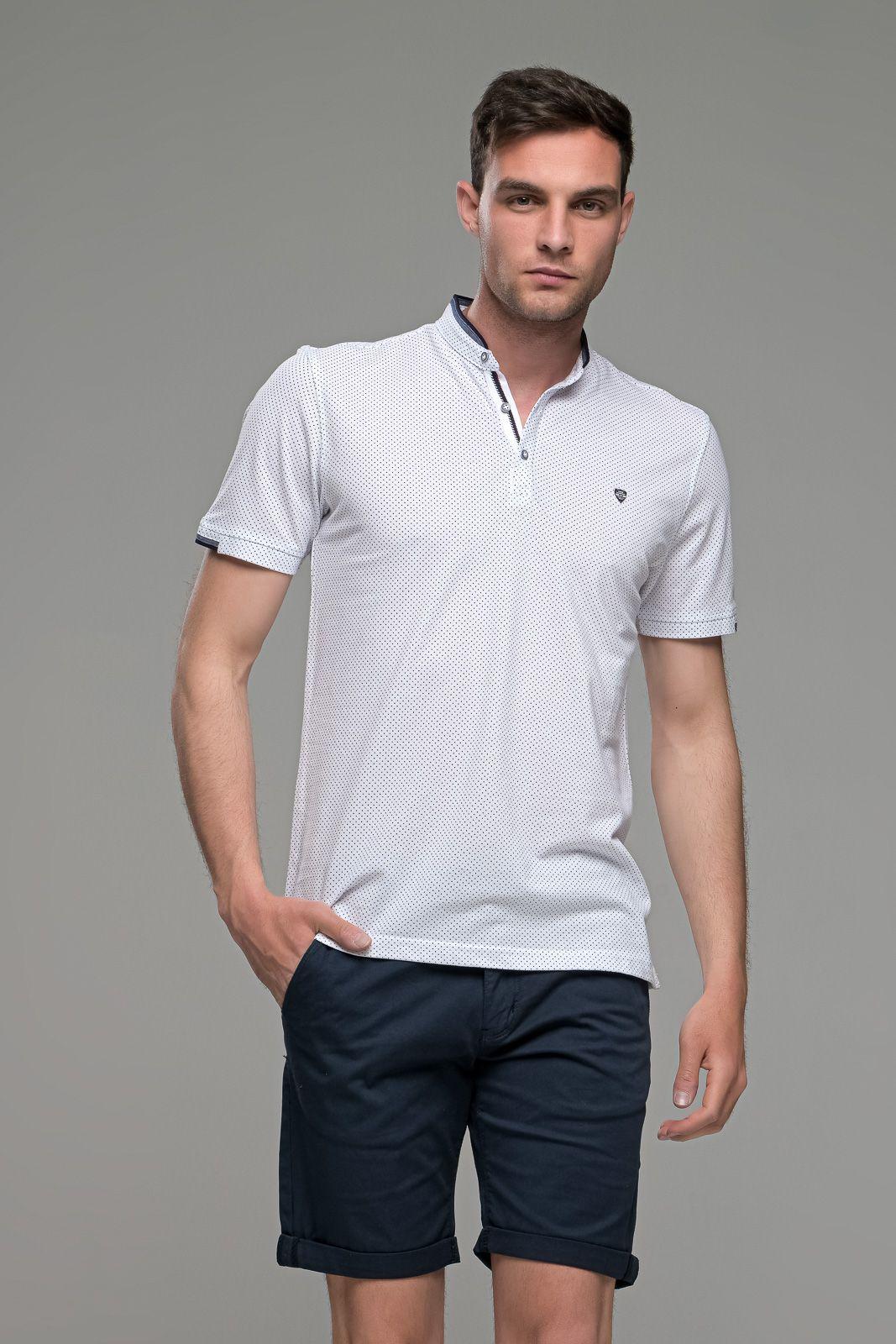Μαο Λευκό Ανδρικό Πόλο Μπλουζάκι με Μπλε Μικροσχέδιο