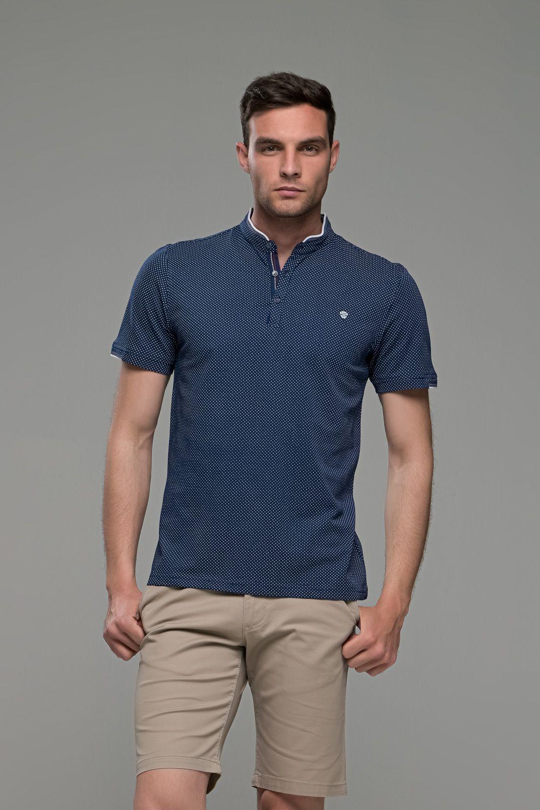 Μαο μπλε Ανδρικό Πόλο Μπλουζάκι με Λευκό Μικροσχέδιο skim fit εύκολο σίδερο κάθε μέρα