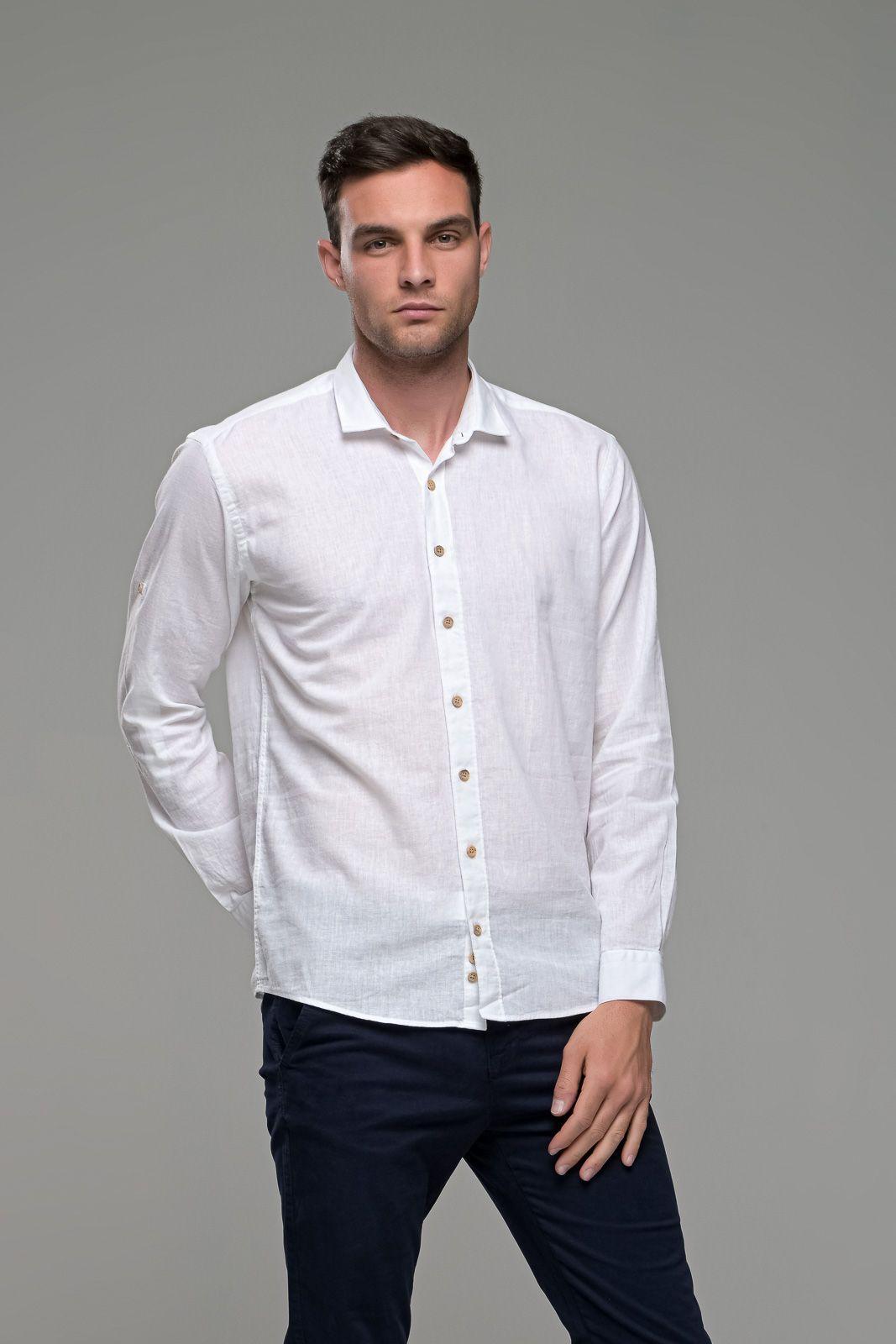 Λινό ανδρικό πουκάμισο λευκό άσπρο - Slim Fit