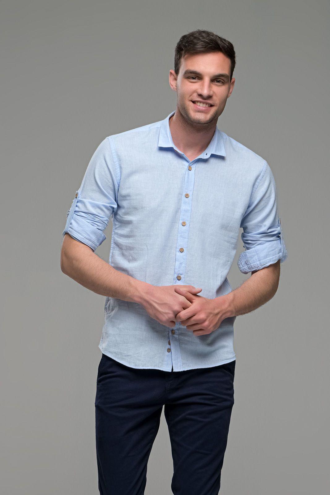 Λινό ανδρικό πουκάμισο γαλάζιο - Slim Fit