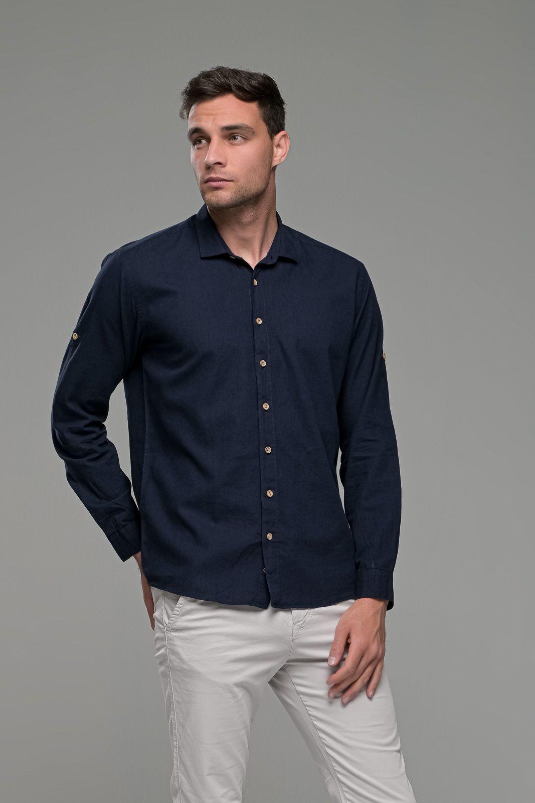 Λινό ανδρικό πουκάμισο μπλε - Slim Fit